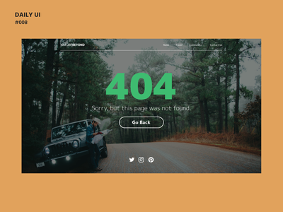 Daily UI Challenge #008: NatureBeyond - 404 Page ui design web design dailyui 008 dailyui daily ui daily 100 challenge adobe xd 404 page 404 error nature chicago ui