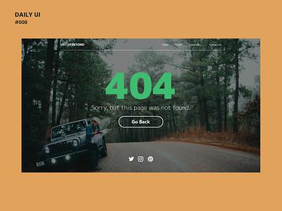 Daily UI Challenge #008: NatureBeyond - 404 Page ui design web design dailyui 008 dailyui daily ui daily 100 challenge adobe xd 404 page 404 error nature chicago ui