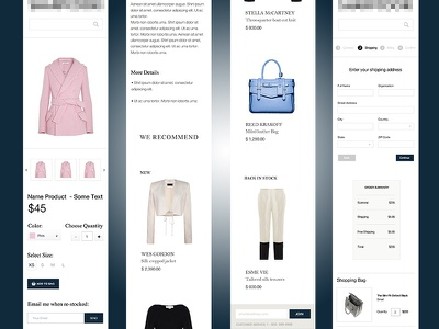 E-Commerce Mobile Views / Checkout mobile ecommerce responsive ui ux web design products checkout clean minimal design