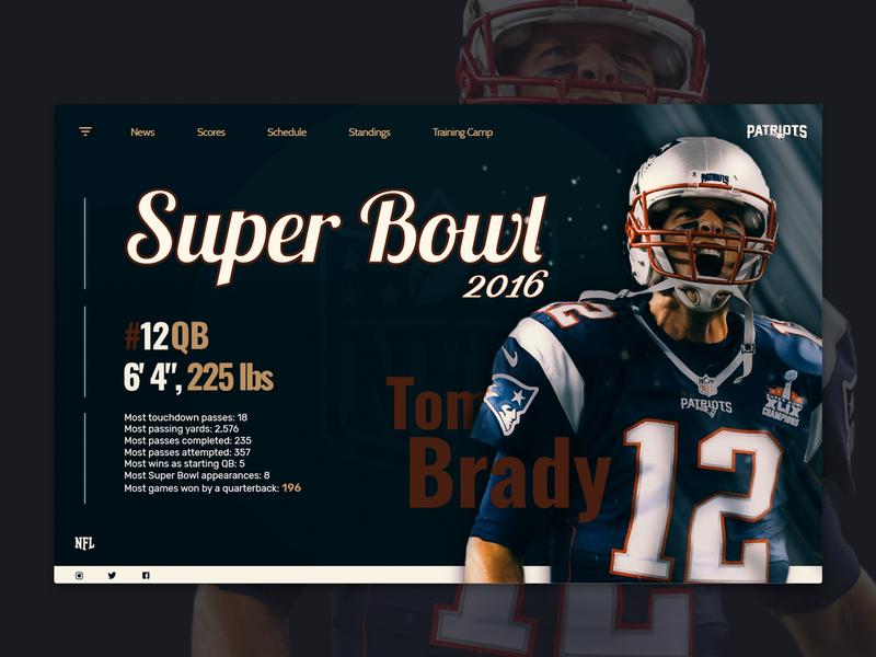 -NFL SuperBowl- inspiration photoshop sport white home superbowl website design webdesign web blue