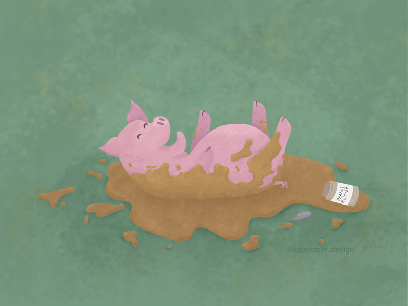 Pig and Peanut Butter Day! digital paint peanut butter animal pig illustration photoshop illustrator childrens book