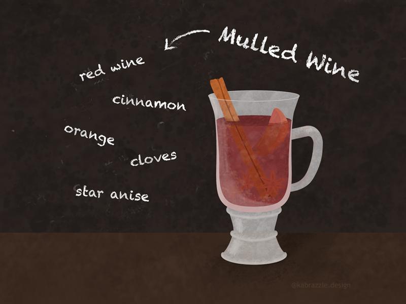 Mulled Wine Day holidays cocktail texture photoshop illustrator wine illustration