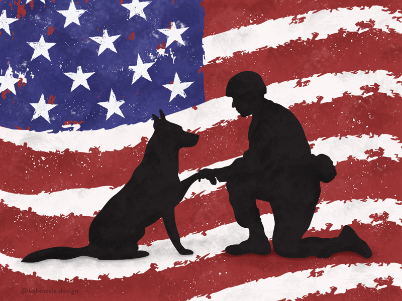 K9 Veterans Day military usa american canine k9 veteran animal dog design illustrator illustration