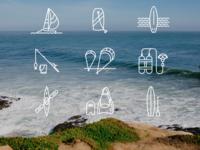 Santa Cruz Ocean Sports Icons
