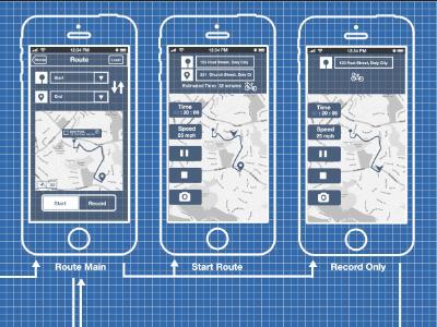Wire Cyclist Shoot wireframe ui ios app grid blueprint