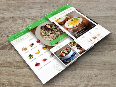 Mobile Interface Design on wood - Handpick food  ios mobile interface ui food social