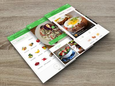 Mobile Interface Design on wood - Handpick food