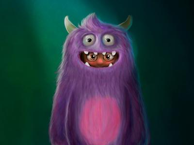 Monster - Shy adobe monster animation caracter design illustration