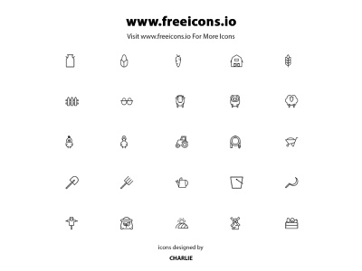 Farm Icon set ui typography branding vector design free icons web framer farm frame illustration icon