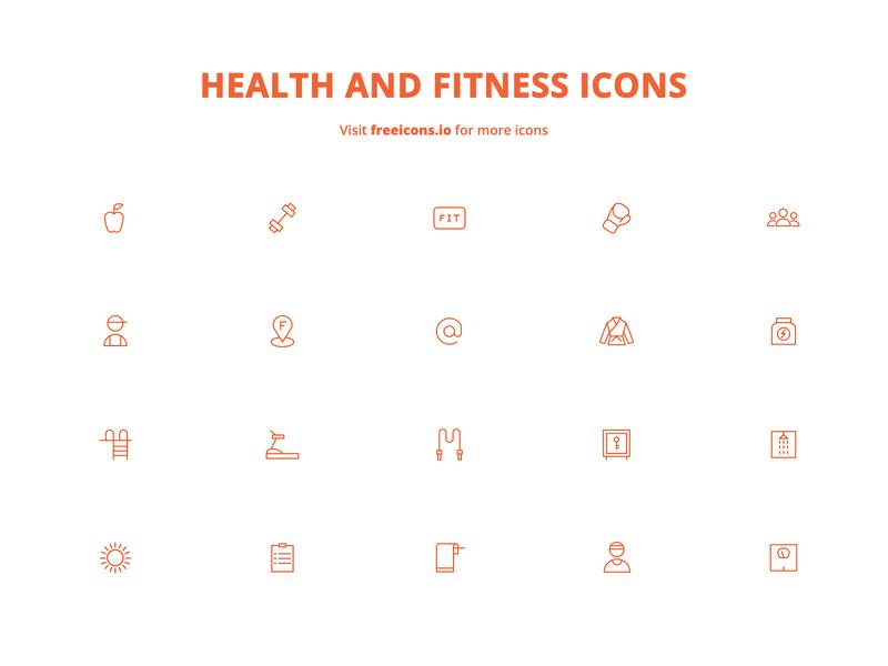 Health and Fitness Icons illustrator minimal animation flat ios png logo website logo ux svg logo vector logo freeicons design app ui vector web free icons illustration icon