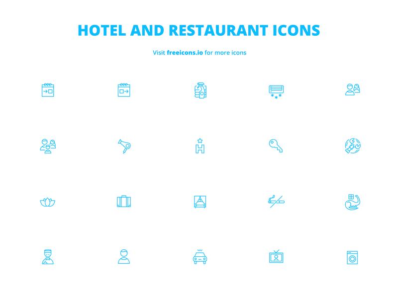 Hotel and Restaurant Icons illustrator png logo ai ios icons svg logo ios logo freeicons website branding ux design ui app vector logo vector free icons web illustration icon