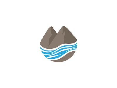 Mountain + Water logo branding recreational camping minimal minimalist graphic mountain river water lake outdoor