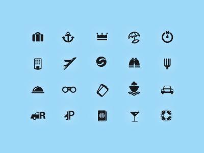 WIP - Travel Icons travel cruise airfare vacation entertainment leisure trip logo