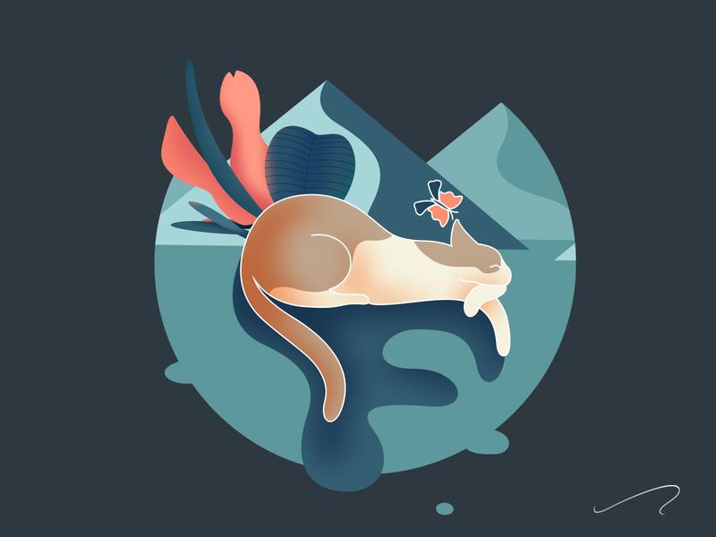 sleeping cat cat sleeping drawing color design illustrator