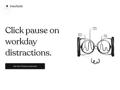 Interlude branding - part 1 whimsical smooth clean black  white black landing minimal branding typography logo landing page daily challange ui design illustration design ui