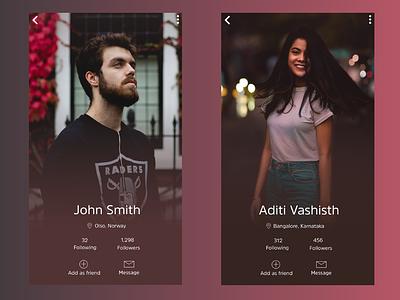 Daily UI 006 - Profile page profile page app design daily challange ui design