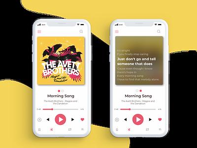 Music Player- Daily UI #009 daily ui 009 daily challange ux lyrics app music player minimal ui 100day ui music player ui music app music
