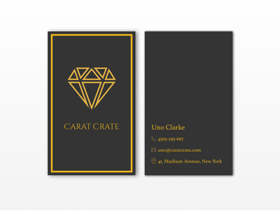 Business Card for Carat Crate gold diamond luxury branding luxury design luxury brand vertical business card business card design business card brand identity branding logo icon typography daily challange design