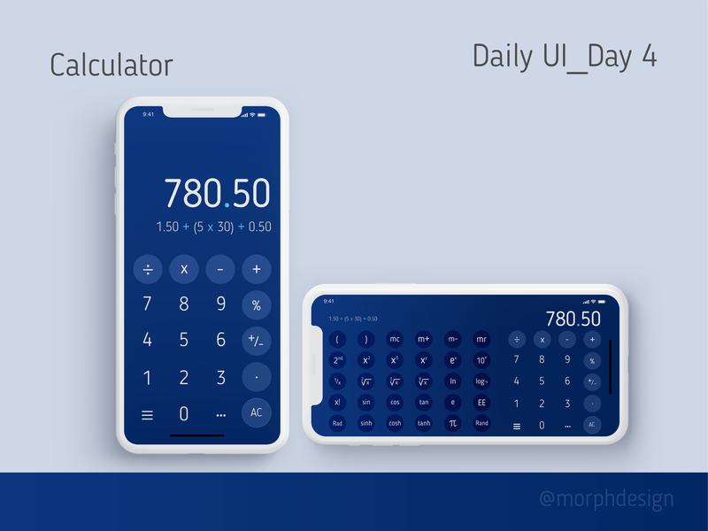 Daily UI_Day 4 - Calculator for App day4 ux app ui design dailyui