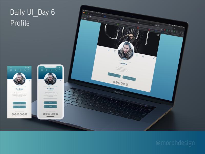 Daily UI_Day 6 - Profile App & Web web app ux ui design dailyui