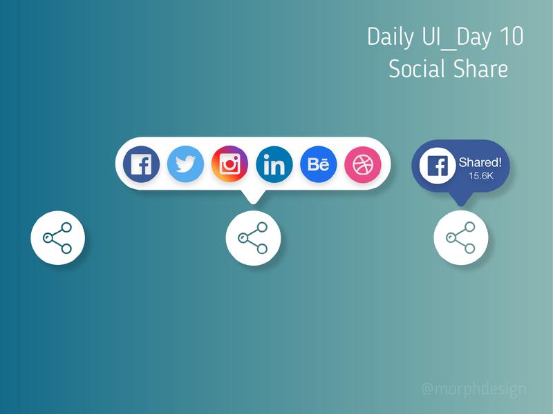 Daily UI_Day 10 - Social Share button icon app ui ux design dailyui