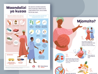 Maternity Guide Posters for Tanzania   Polish Medical Mission vector women africa infographic medical education guide icon branding color illustration poster