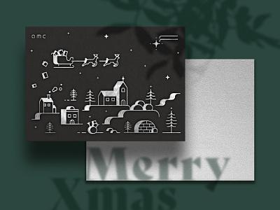 Christmas card design   AMC print holographic silver foil silver foil stamping design illustration christmas card