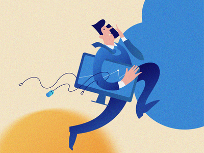 Running man noise rush businessman clerk character art cloud character illustration