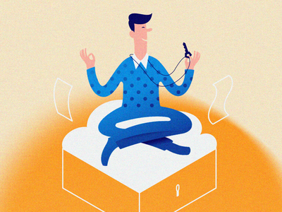 Guy in lotus position lotos relax businessman noise flat illustration cloud cloud computing character