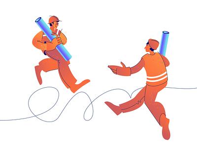 working people plumbers road builders uniform worker vest helmet work orange man illustration character