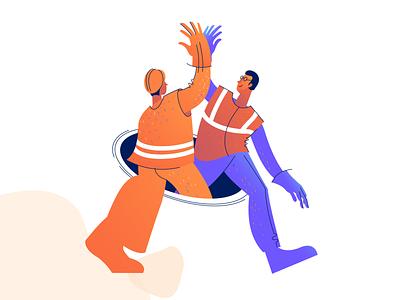 Victory victory blue handshake orange labor plumbers character illustration
