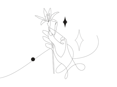 Hand lines magic lily flowers hand vector illustration