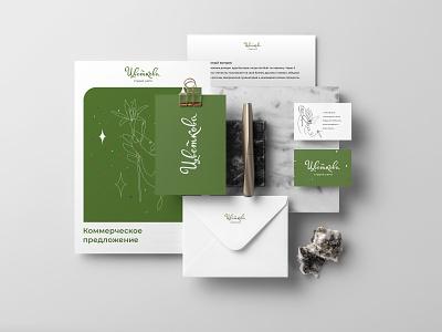 Identity concept Tsvetkova graphic design flowers green office letter identity businesscard branding design logo