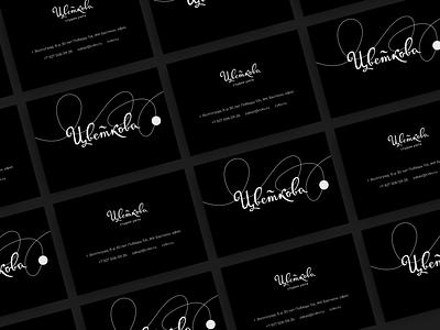 Visit card black cardboard black lettering cyrillic typography branding lines logo print visit card