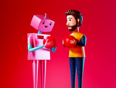 HRI - Human Robot Interaction Illustration cartoons web 3d design character design octane creative digital art design character cinema 4d ui graphic design 3d artist 3d vector c4d 3d art blender abstract illustration