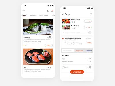 Sushi Restaurant App Design user interface figma vector sushi app restaurant concept food-app uiux ui animation design