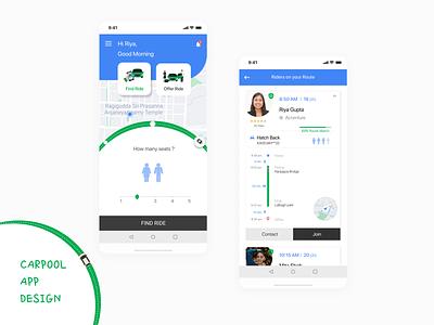 Carpool App Design bangalore concept figma uiux ui design