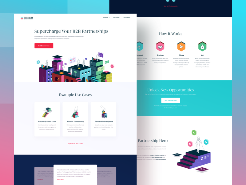 Crossbeam Homepage Design web development copywriting branding b2b flat uidesign illustration landing page ui landing page homepage