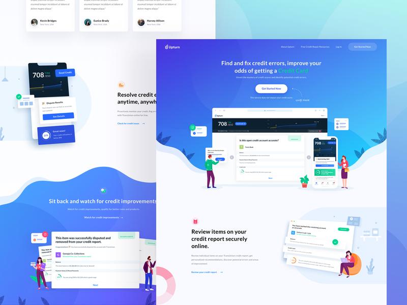 Upturn Credit - Homepage Design startup fintech credit score credit repair illustration ui branding homepage