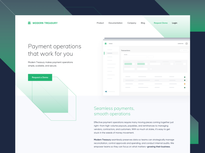 Modern Treasury Homepage Redesign branding design fintech ui redesign userinterface api