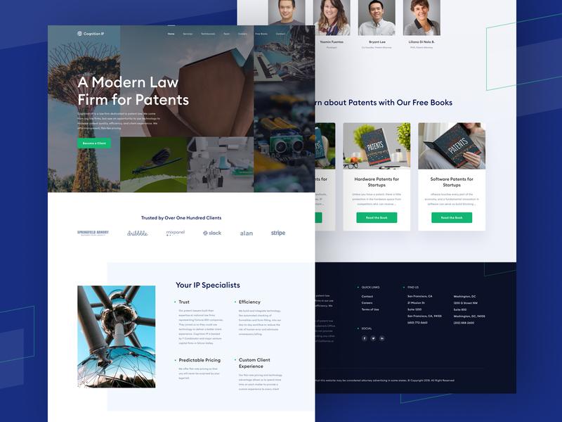 Cognition IP - Website Design webflow web design ui brand design legal fintech branding