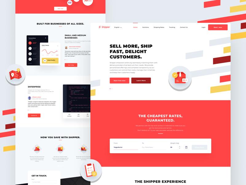 Shipper Homepage homepage branding startup ui ux typography vector illustration design