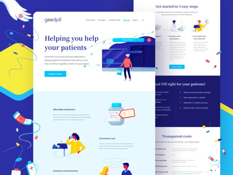 Good Pill - Web Design technology health technology health startup non-profit illustration visual identity web design webdesign website