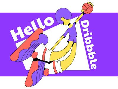 Hello Dribbble background ball sport icon minimalism player character basketball vector dribbble hello illustration