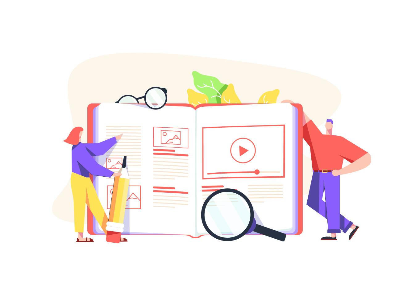 Educational platform illustration. Online Courses background university minimalism behance vector woman man people school character design app online courses courses education book student study illustration