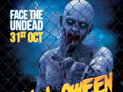 Halloween Party Z Flyer Dribbble halloween party flyer poster zombie horror scary rock metal punk festival template