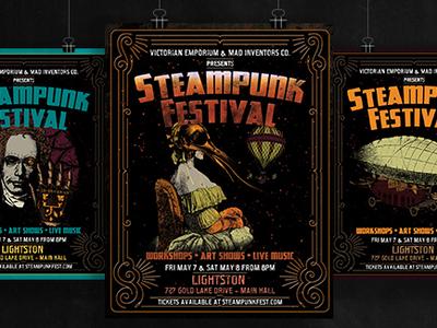 Victorian Steampunk Fest Poster Template Set poster art metal dark grunge victorian festival convention fest concert live music template design sale poster template steampunk