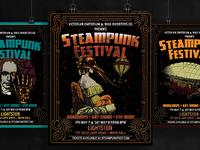 Victorian Steampunk Fest Poster Template Set