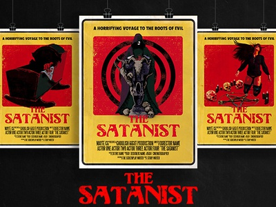 The Satanist 70's Exploitation or Pulp Style Horror Film Poster digital music template design poster art film poster horror pulp 70s exploitation satanism panic satanic satan doom