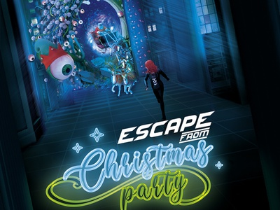 Escape From Christmas 80's Sci-Fi Themed Holidays Poster template sci-fi science poster party invasion holidays fiction escape christmas aliens alien 80s